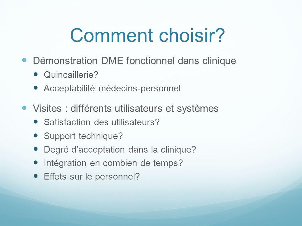 Comment choisir? Démonstration DME fonctionnel dans clinique Quincaillerie? Acceptabilité médecins-personnel Visites : différents utilisateurs et syst