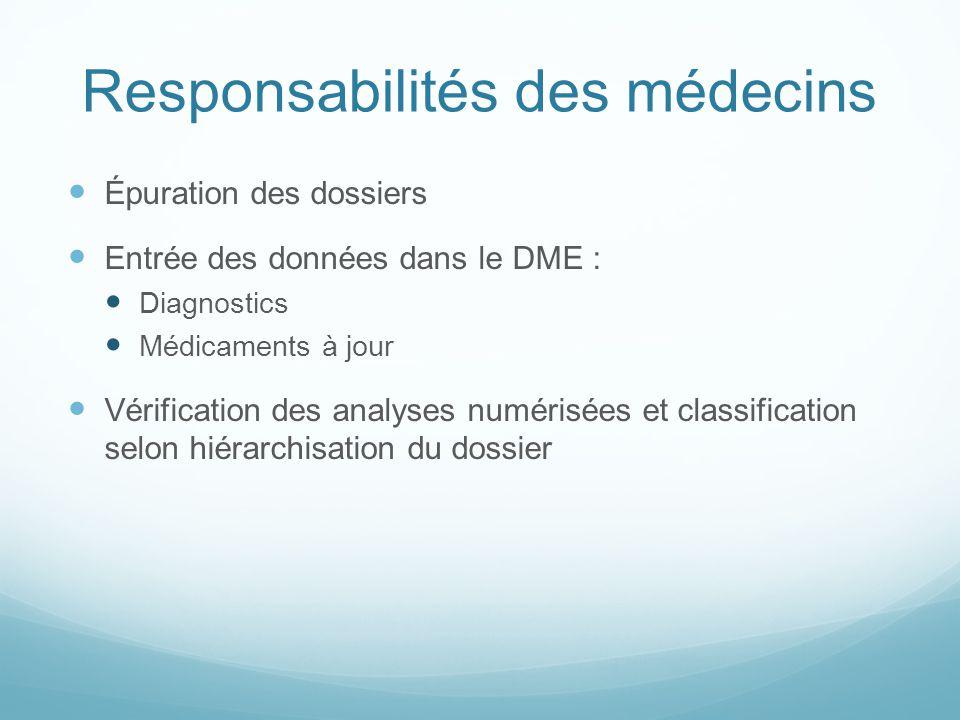 Responsabilités des médecins Épuration des dossiers Entrée des données dans le DME : Diagnostics Médicaments à jour Vérification des analyses numérisé