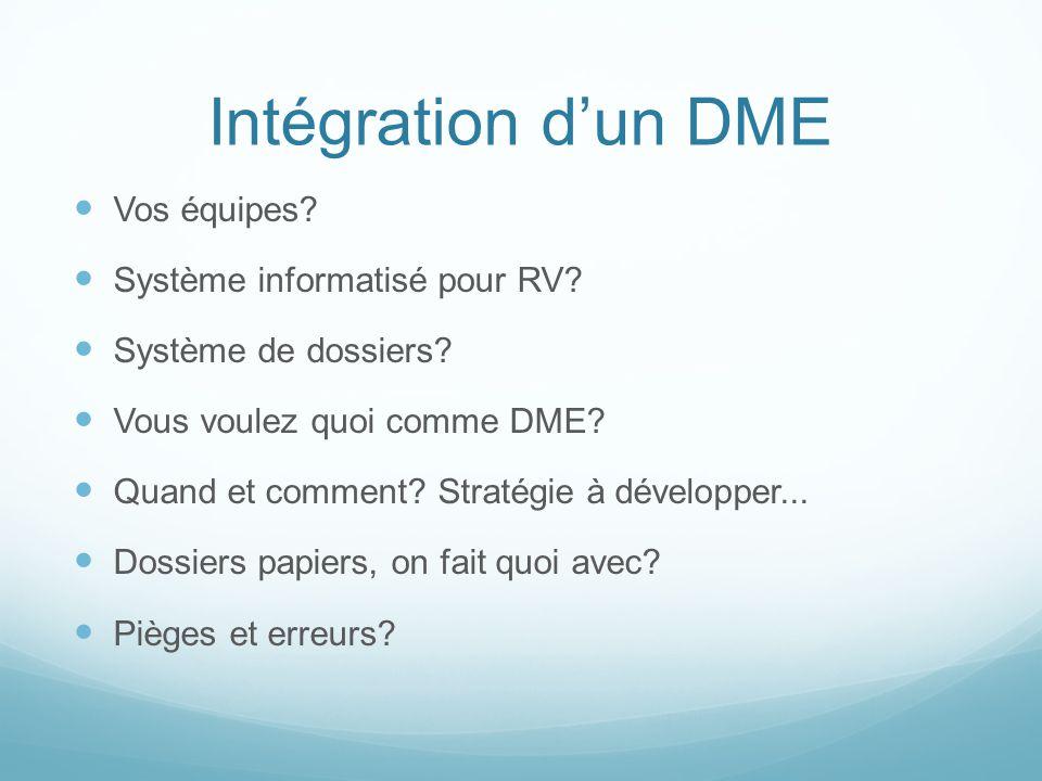 Intégration dun DME Vos équipes? Système informatisé pour RV? Système de dossiers? Vous voulez quoi comme DME? Quand et comment? Stratégie à développe