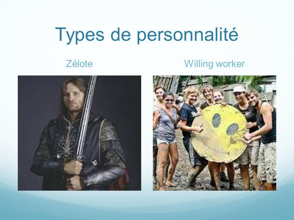 Types de personnalité ZéloteWilling worker