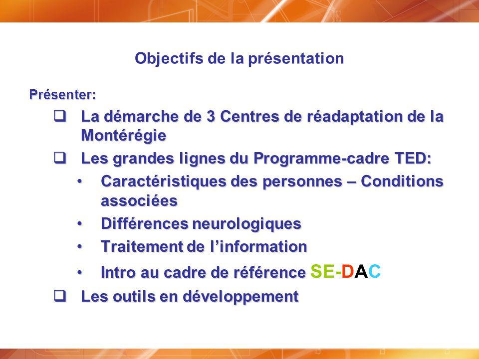 Objectifs de la présentation Présenter: La démarche de 3 Centres de réadaptation de la Montérégie La démarche de 3 Centres de réadaptation de la Monté