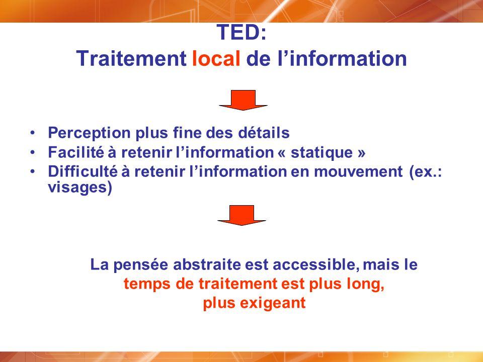 TED: Traitement local de linformation Perception plus fine des détails Facilité à retenir linformation « statique » Difficulté à retenir linformation