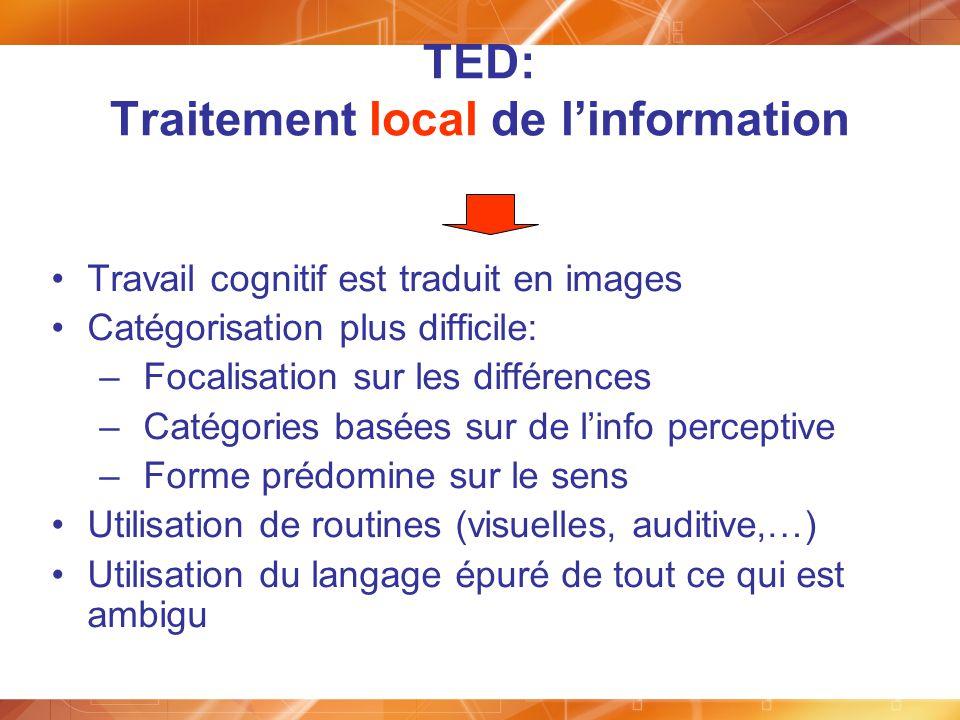 TED: Traitement local de linformation Travail cognitif est traduit en images Catégorisation plus difficile: –Focalisation sur les différences –Catégor