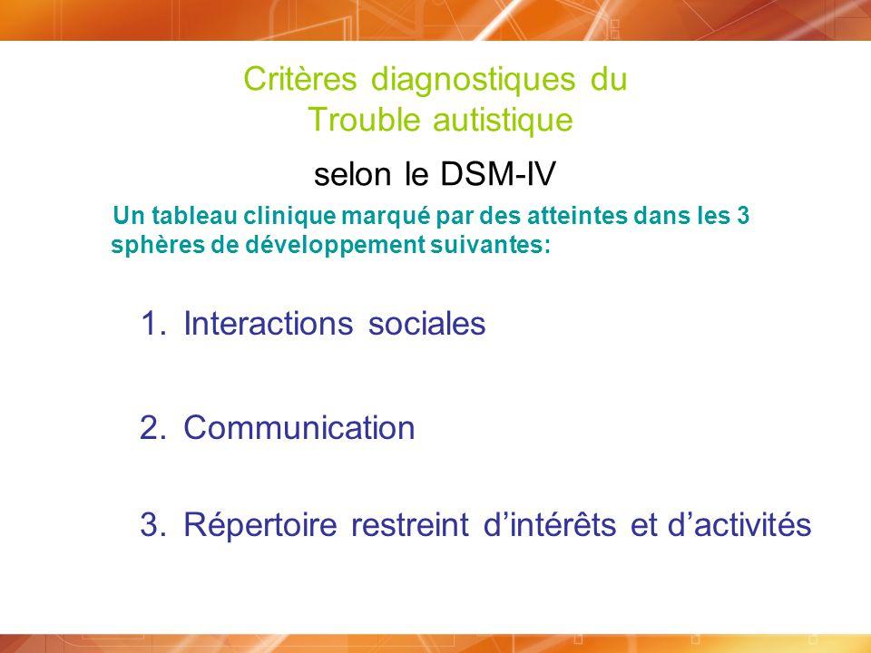 Critères diagnostiques du Trouble autistique selon le DSM-IV Un tableau clinique marqué par des atteintes dans les 3 sphères de développement suivante