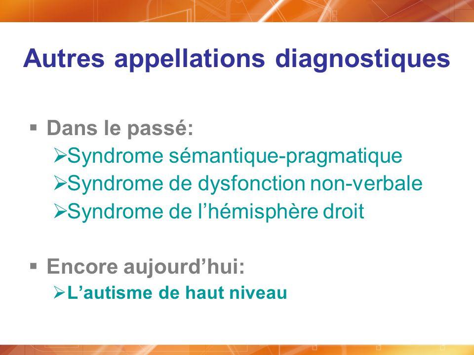 Autres appellations diagnostiques Dans le passé: Syndrome sémantique-pragmatique Syndrome de dysfonction non-verbale Syndrome de lhémisphère droit Enc