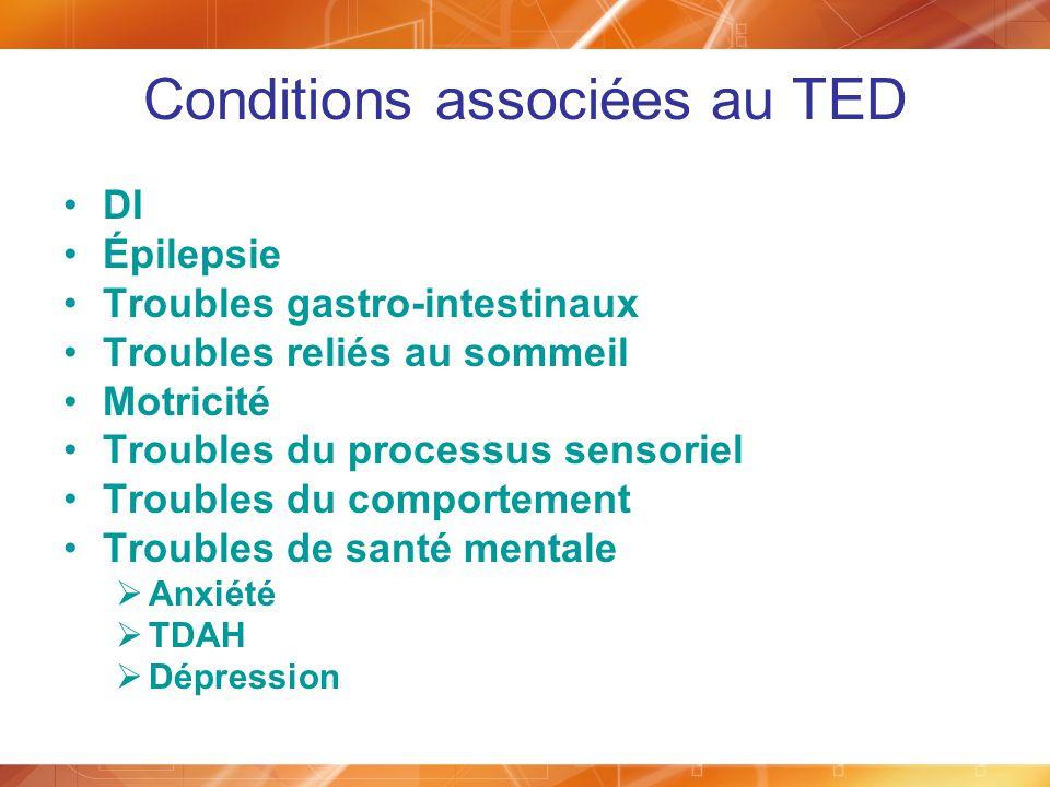 Conditions associées au TED DI Épilepsie Troubles gastro-intestinaux Troubles reliés au sommeil Motricité Troubles du processus sensoriel Troubles du