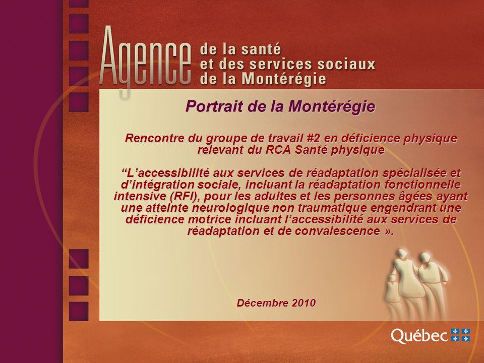 Portrait de la Montérégie (suite) Profil usagers DP