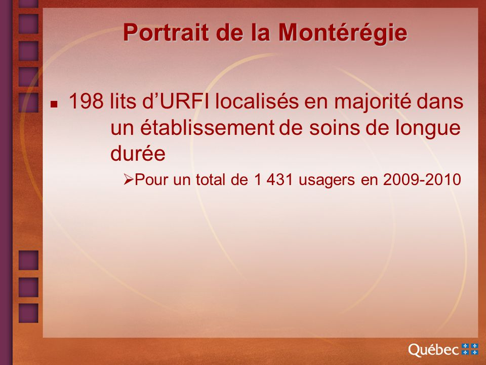 Portrait de la Montérégie n 198 lits dURFI localisés en majorité dans un établissement de soins de longue durée Pour un total de 1 431 usagers en 2009-2010