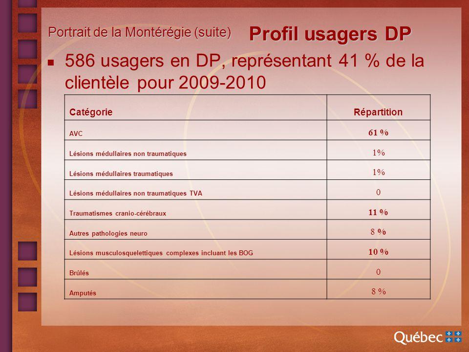 551 usagers ayant un profil DP en 07-08 ratio de 39% 530 usagers ayant un profil DP en 08-09 ratio de 38% 586 usagers ayant un profil DP en 09-10 ratio de 41% *Note : Le ratio dusagers en 08-09 est calculé sur un total de 1 383 usagers puisquun établissement na pu effectuer la répartition selon les profils.