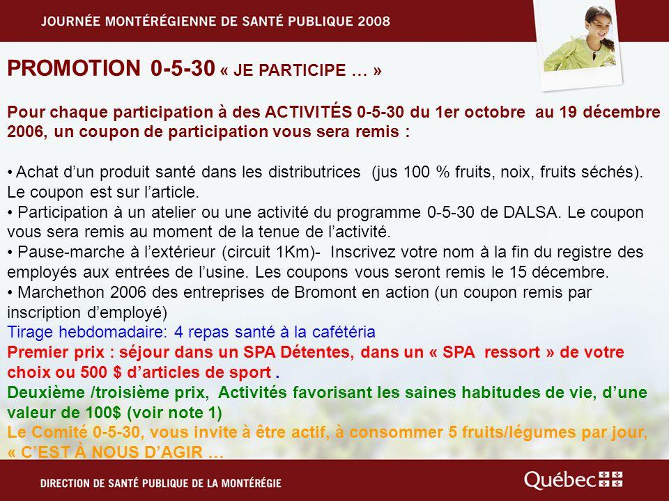 PROMOTION 0-5-30 « JE PARTICIPE … » Pour chaque participation à des ACTIVITÉS 0-5-30 du 1er octobre au 19 décembre 2006, un coupon de participation vous sera remis : Achat dun produit santé dans les distributrices (jus 100 % fruits, noix, fruits séchés).