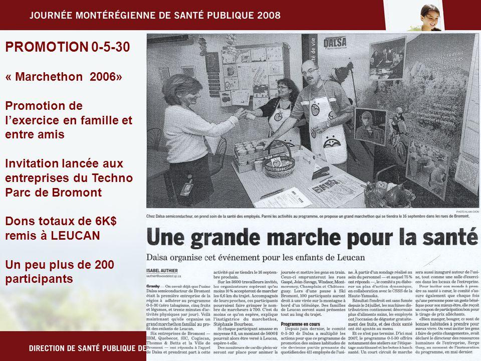 PROMOTION 0-5-30 « Marchethon 2006» Promotion de lexercice en famille et entre amis Invitation lancée aux entreprises du Techno Parc de Bromont Dons totaux de 6K$ remis à LEUCAN Un peu plus de 200 participants