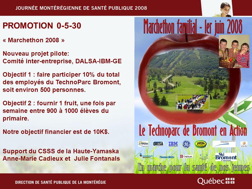 PROMOTION 0-5-30 « Marchethon 2008 » Nouveau projet pilote: Comité inter-entreprise, DALSA-IBM-GE Objectif 1 : faire participer 10% du total des employés du TechnoParc Bromont, soit environ 500 personnes.