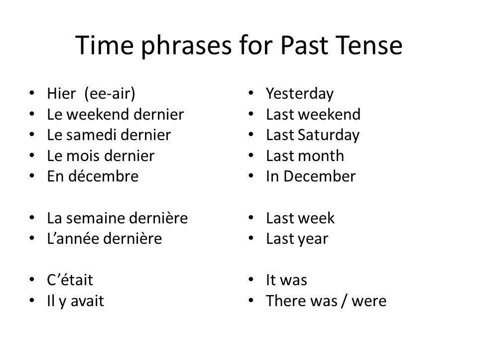 Time phrases for Past Tense Hier (ee-air) Le weekend dernier Le samedi dernier Le mois dernier En décembre La semaine dernière Lannée dernière Cétait