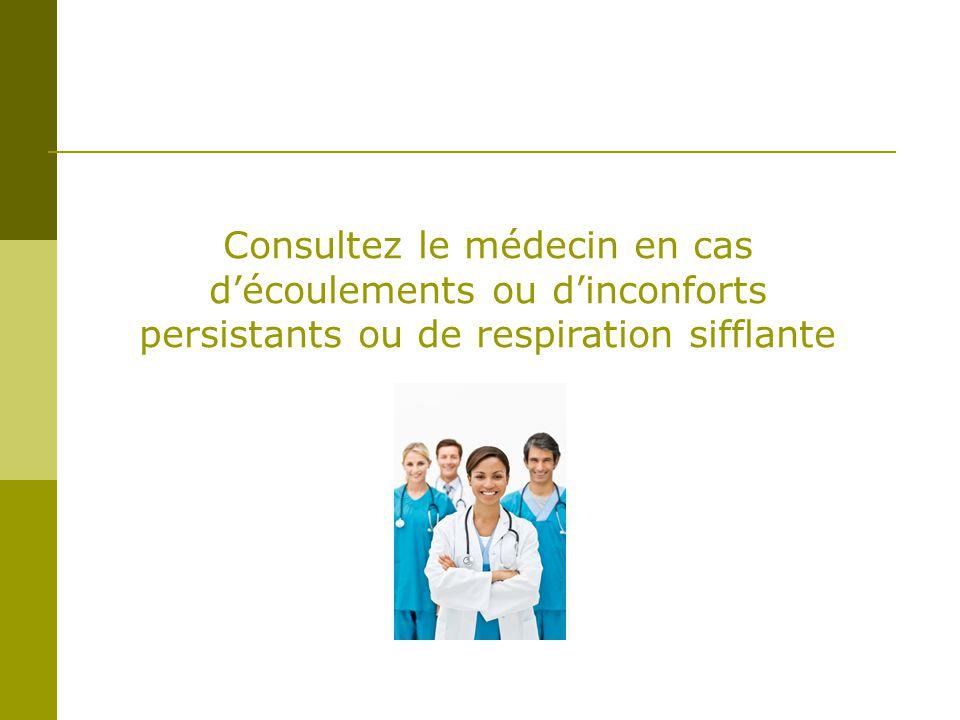 Consultez le médecin en cas découlements ou dinconforts persistants ou de respiration sifflante