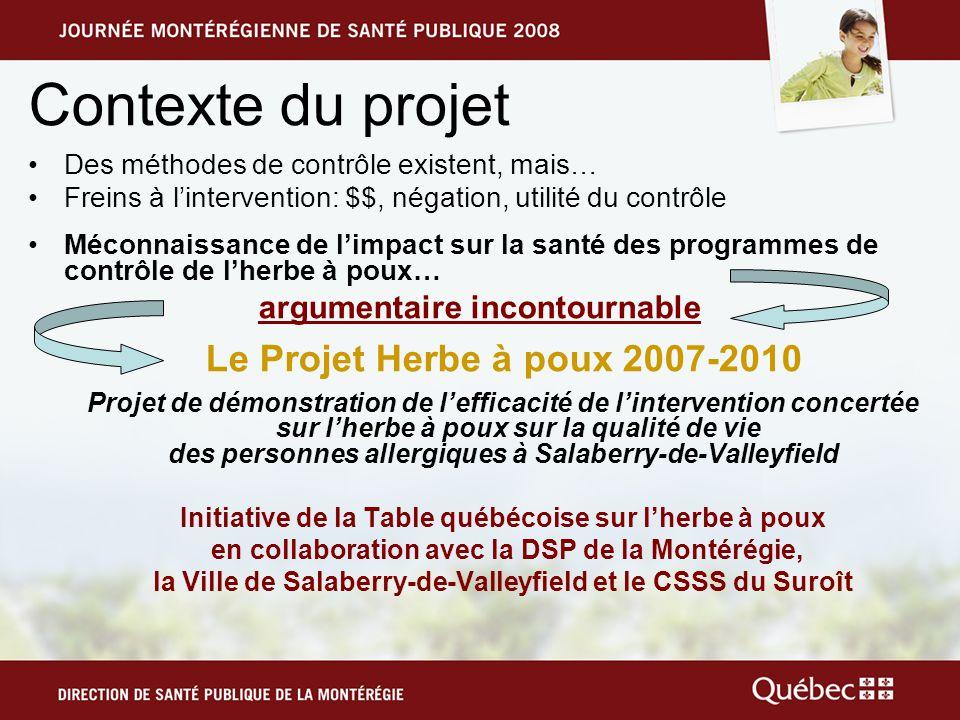 Projet Herbe à poux 2007-2010 La principale mesure pour prévenir lallergie à lherbe à poux est la diminution des concentrations de son pollen dans lair.
