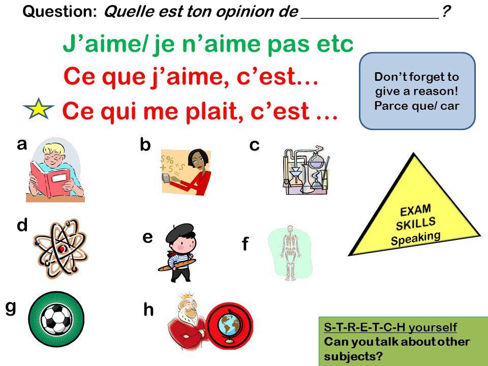 How to avoid repetition when giving an opinion Jaime le français parce que cest facile.