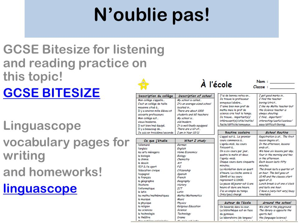 Noublie pas! GCSE Bitesize for listening and reading practice on this topic! GCSE BITESIZE Linguascope vocabulary pages for writing and homeworks! lin