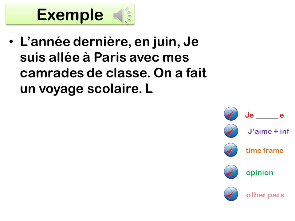 Imperfect tense – I used to do/ was doing jaimais…+ infinitive Quand jétais plus jeune, on faisait… Je pouvais + infinitive I used to like When I was younger We used to do… I used to be able + infinitive