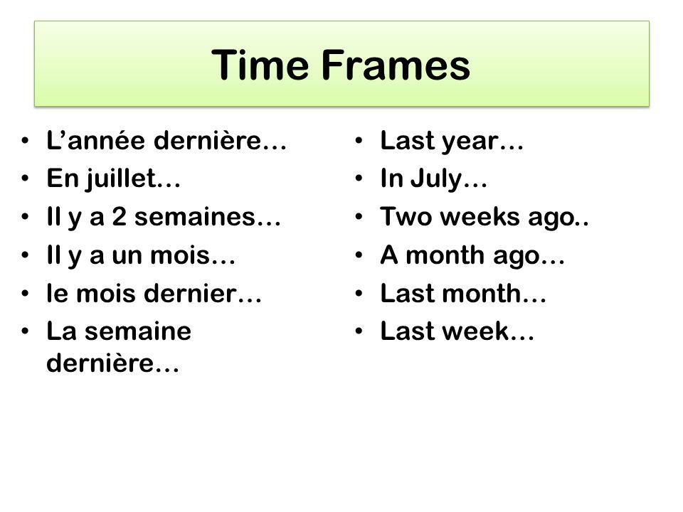 Time Frames Lannée dernière… En juillet… Il y a 2 semaines… Il y a un mois… le mois dernier… La semaine dernière… Last year… In July… Two weeks ago..