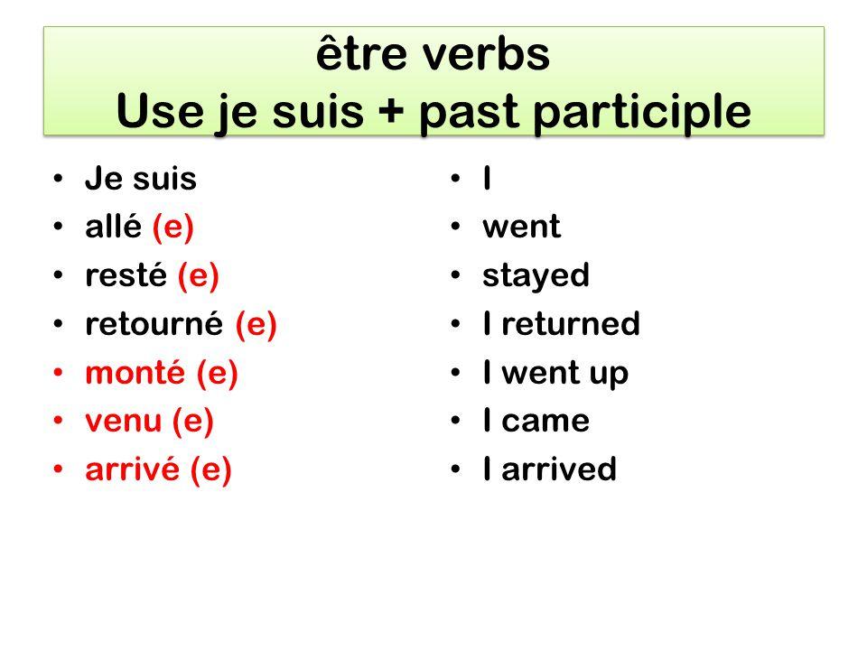 Irregular verbs Jai fait Jai été Jai eu Jai pris Jai bu Jai vu Jai écrit I did I was at I had I took I drank I saw I wrote
