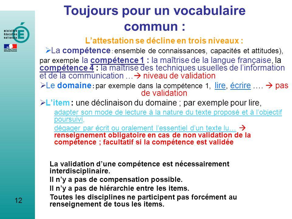 12 Toujours pour un vocabulaire commun : Lattestation se décline en trois niveaux : La compétence : ensemble de connaissances, capacités et attitudes)