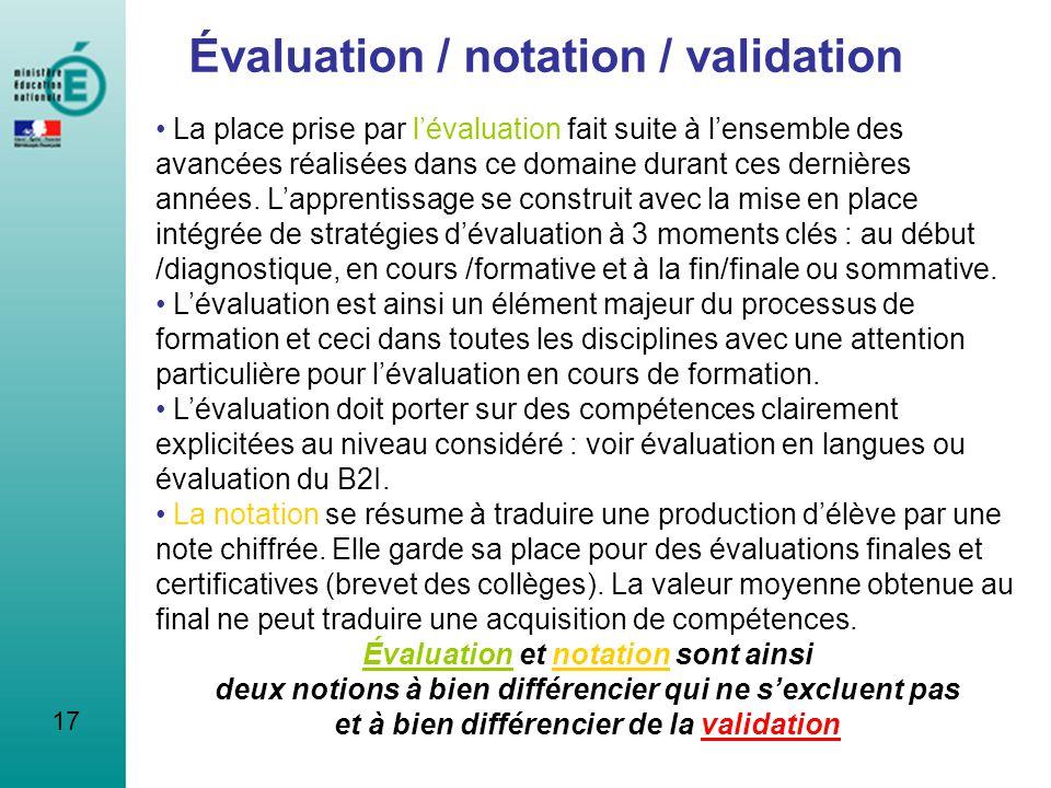 17 Évaluation / notation / validation La place prise par lévaluation fait suite à lensemble des avancées réalisées dans ce domaine durant ces dernière