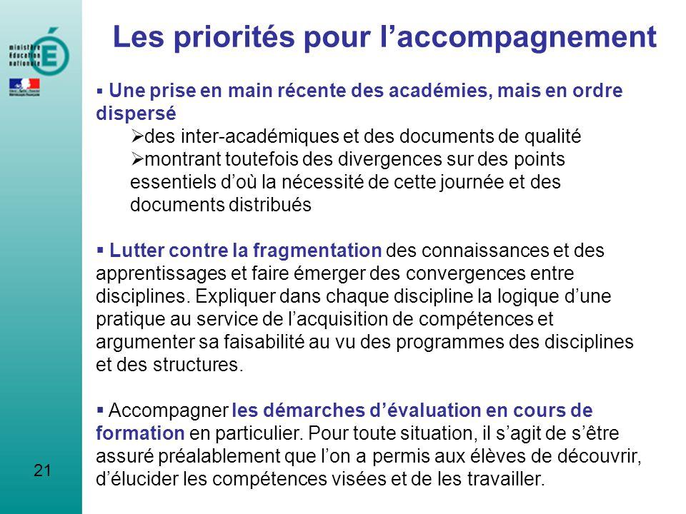 21 Les priorités pour laccompagnement Une prise en main récente des académies, mais en ordre dispersé des inter-académiques et des documents de qualit