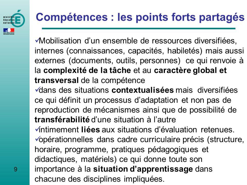 9 Compétences : les points forts partagés Mobilisation dun ensemble de ressources diversifiées, internes (connaissances, capacités, habiletés) mais au