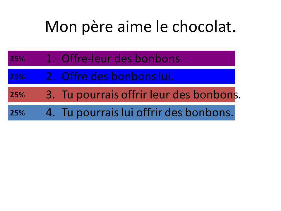 Mon père aime le chocolat. 1.Offre-leur des bonbons.