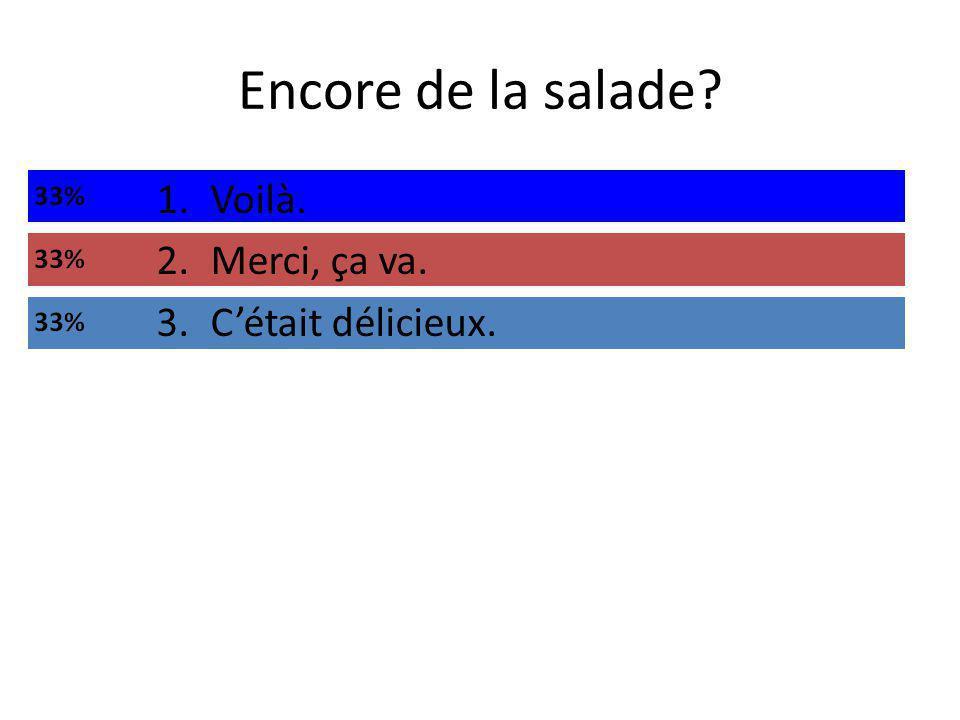 Encore de la salade 1.Voilà. 2.Merci, ça va. 3.Cétait délicieux.