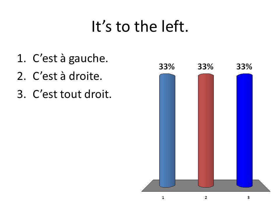 Its to the left. 1.Cest à gauche. 2.Cest à droite. 3.Cest tout droit.