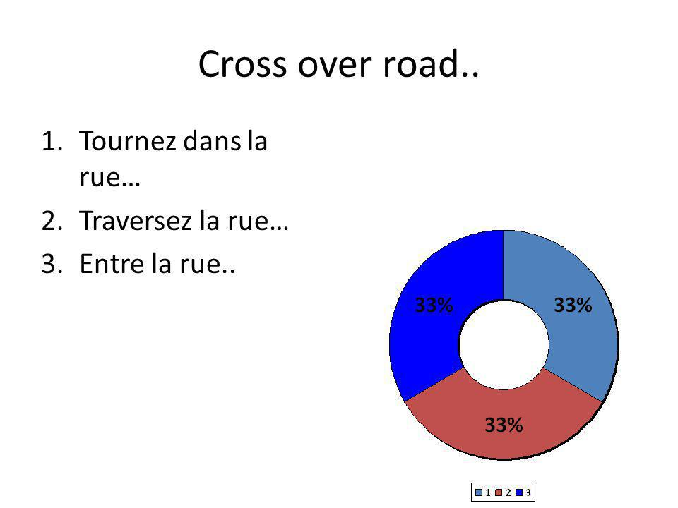 Cross over road.. 1.Tournez dans la rue… 2.Traversez la rue… 3.Entre la rue..