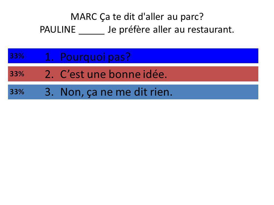MARC Ça te dit d aller au parc. PAULINE _____ Je préfère aller au restaurant.