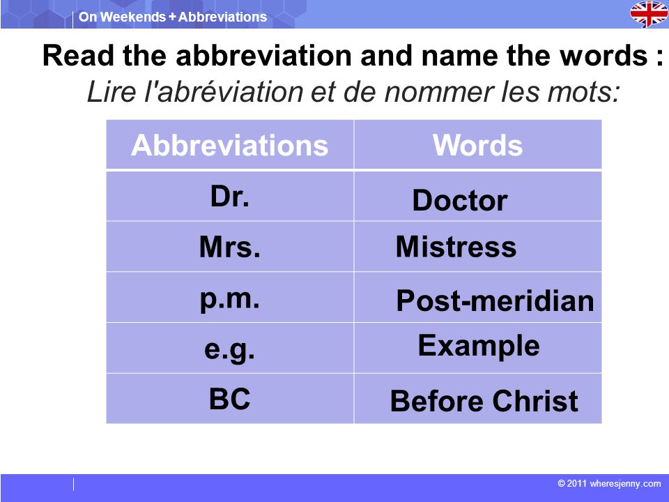 On Weekends + Abbreviations © 2011 wheresjenny.com Read the abbreviation and name the words : Lire l abréviation et de nommer les mots: AbbreviationsWords Dr.