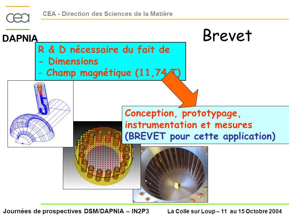 Journées de prospectives DSM/DAPNIA – IN2P3 La Colle sur Loup – 11 au 15 Octobre 2004 DAPNIA CEA - Direction des Sciences de la Matière R & D nécessaire du fait de - Dimensions - Champ magnétique (11,74 T) Conception, prototypage, instrumentation et mesures (BREVET pour cette application) Brevet