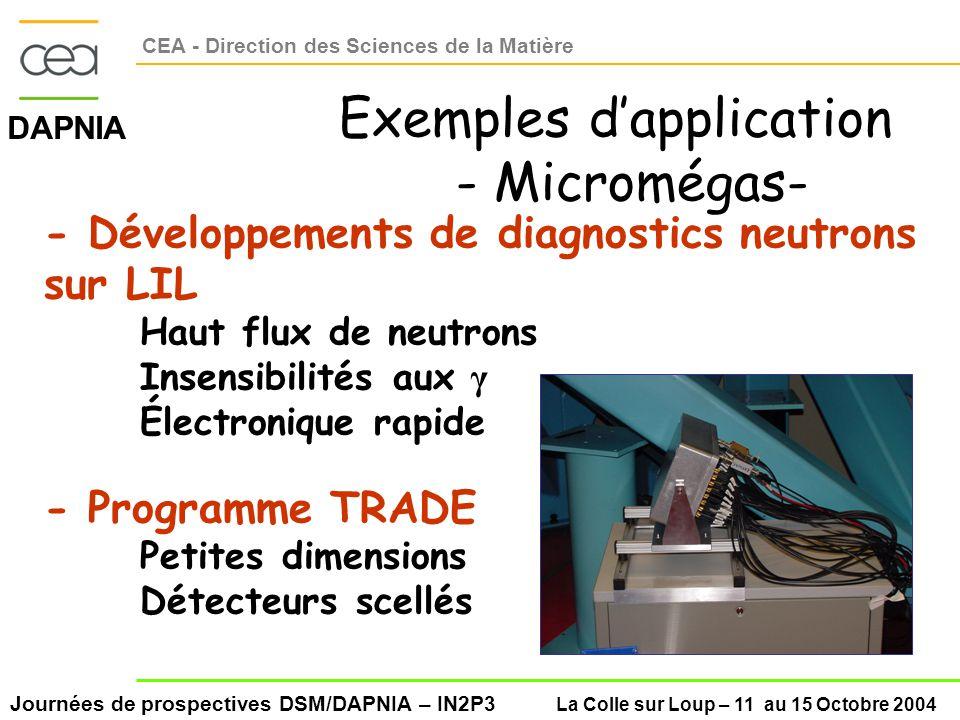 Journées de prospectives DSM/DAPNIA – IN2P3 La Colle sur Loup – 11 au 15 Octobre 2004 DAPNIA CEA - Direction des Sciences de la Matière Exemples dapplication - Micromégas- - Développements de diagnostics neutrons sur LIL Haut flux de neutrons Insensibilités aux γ Électronique rapide - Programme TRADE Petites dimensions Détecteurs scellés