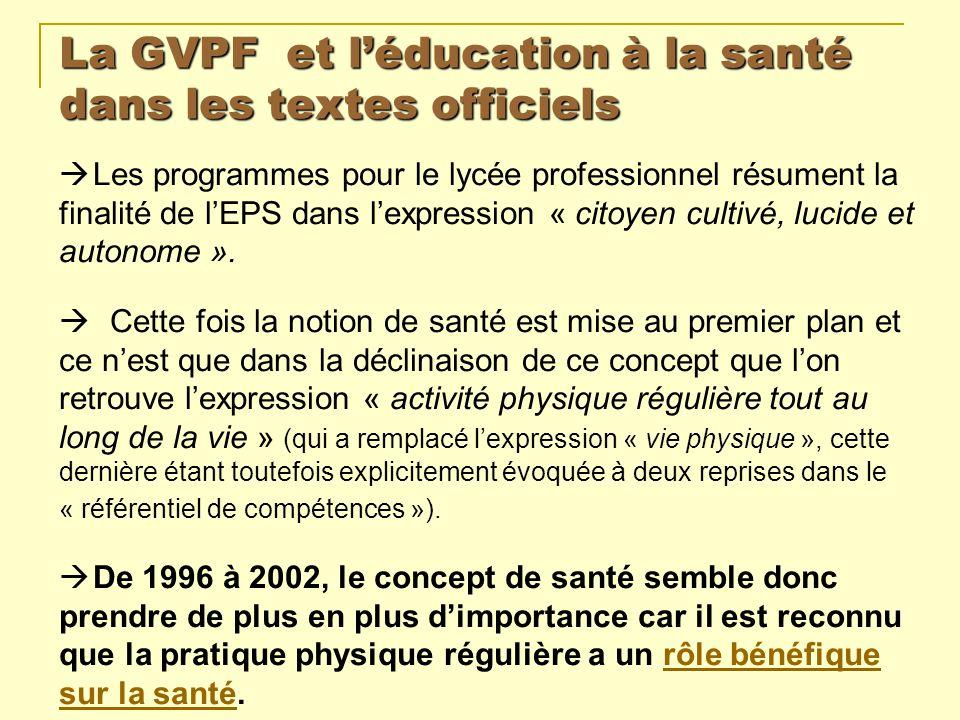 La GVPF et léducation à la santé dans les textes officiels Les programmes pour le lycée professionnel résument la finalité de lEPS dans lexpression «