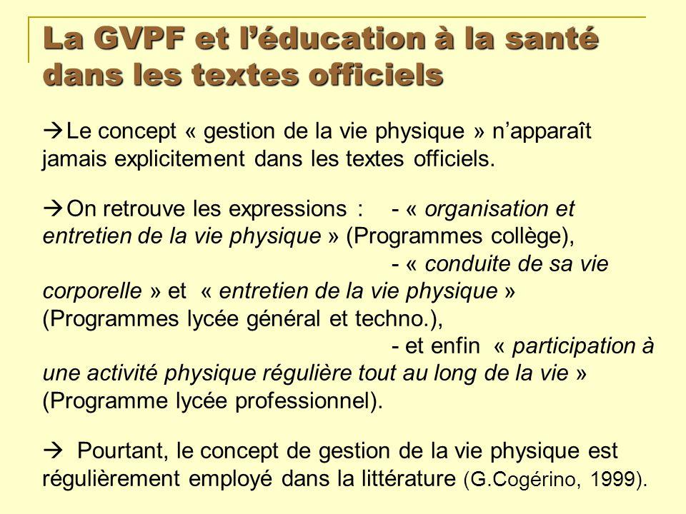 La GVPF et léducation à la santé dans les textes officiels Le concept « gestion de la vie physique » napparaît jamais explicitement dans les textes of