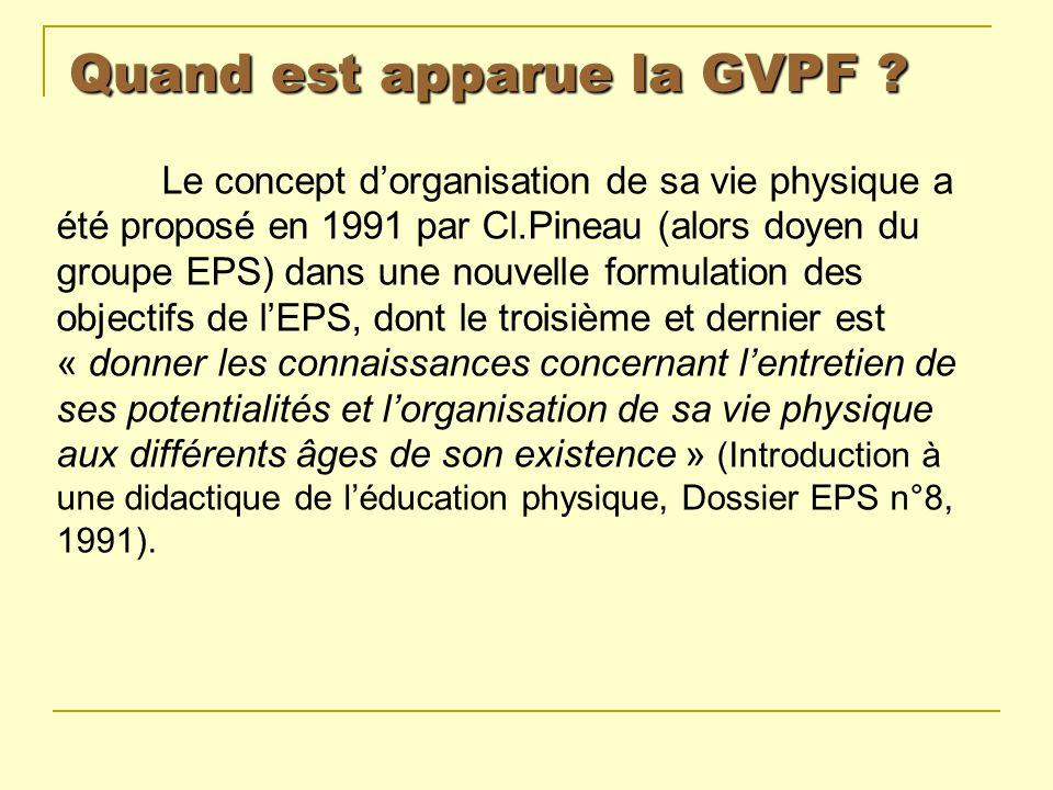 Quand est apparue la GVPF ? Le concept dorganisation de sa vie physique a été proposé en 1991 par Cl.Pineau (alors doyen du groupe EPS) dans une nouve