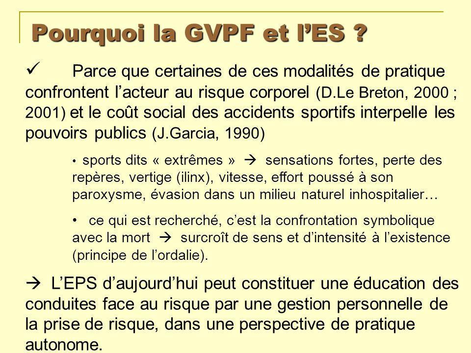 Pourquoi la GVPF et lES ? Parce que certaines de ces modalités de pratique confrontent lacteur au risque corporel (D.Le Breton, 2000 ; 2001) et le coû