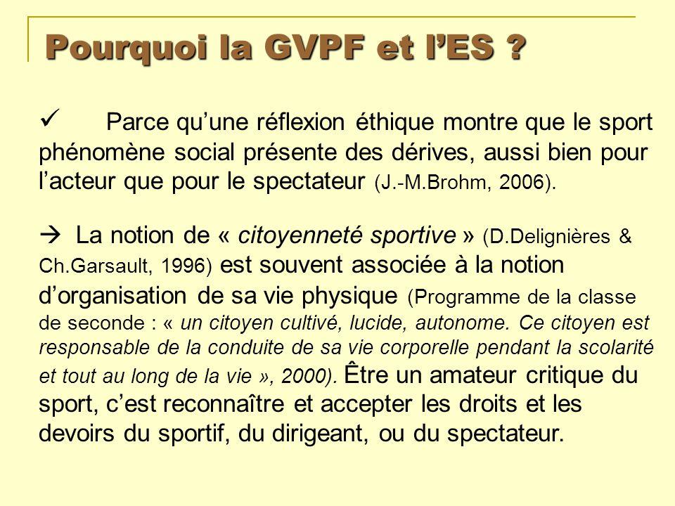 Pourquoi la GVPF et lES ? Parce quune réflexion éthique montre que le sport phénomène social présente des dérives, aussi bien pour lacteur que pour le
