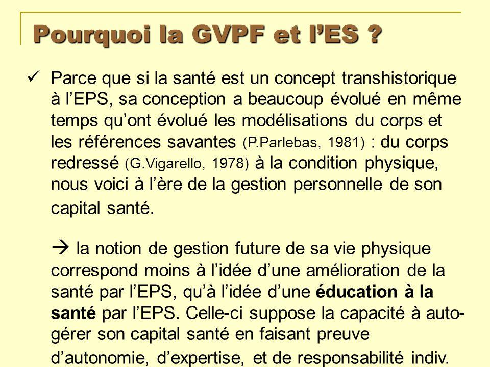 Pourquoi la GVPF et lES ? Parce que si la santé est un concept transhistorique à lEPS, sa conception a beaucoup évolué en même temps quont évolué les