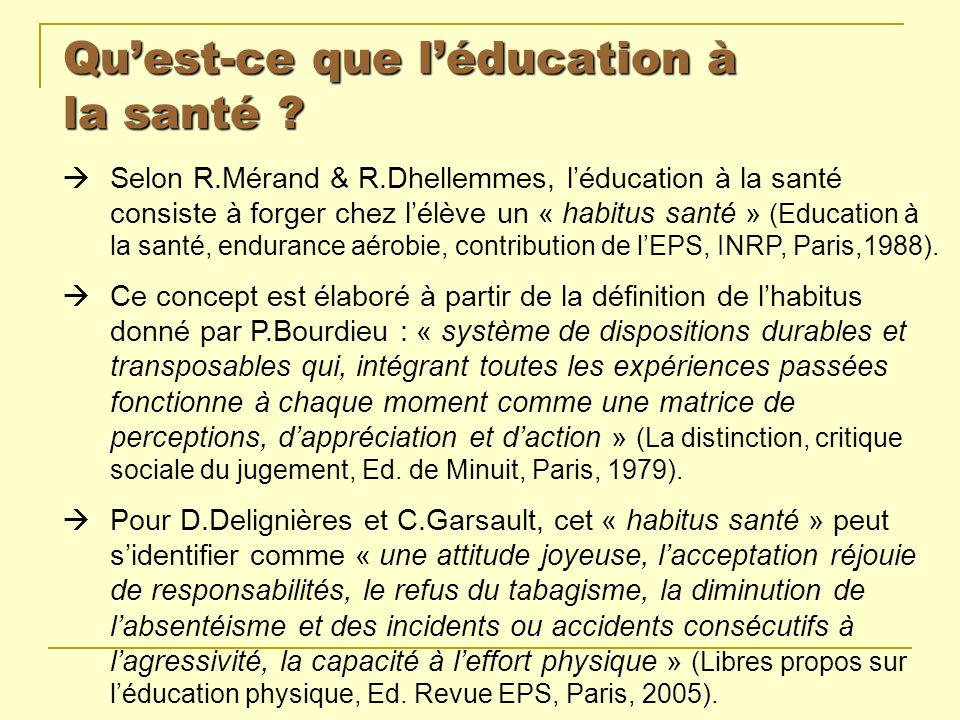 Quest-ce que léducation à la santé ? Selon R.Mérand & R.Dhellemmes, léducation à la santé consiste à forger chez lélève un « habitus santé » (Educatio
