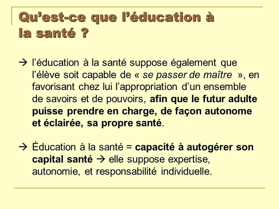 Quest-ce que léducation à la santé ? léducation à la santé suppose également que lélève soit capable de « se passer de maître », en favorisant chez lu