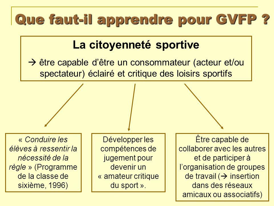 Que faut-il apprendre pour GVFP ? La citoyenneté sportive être capable dêtre un consommateur (acteur et/ou spectateur) éclairé et critique des loisirs
