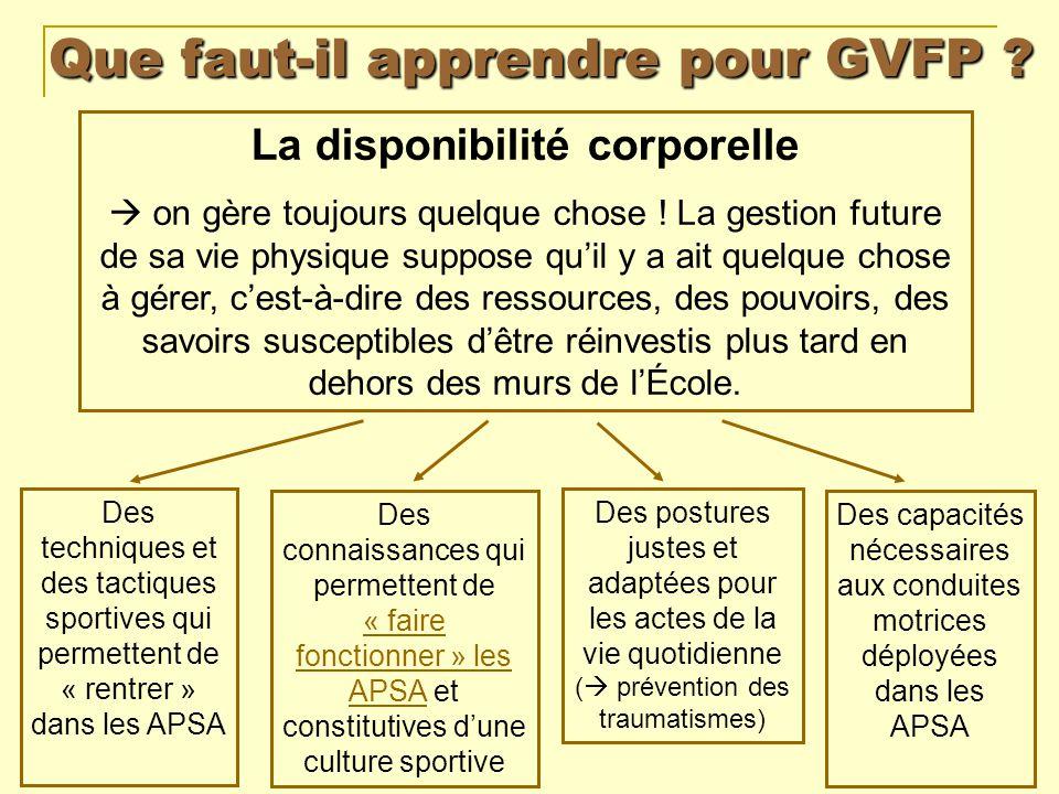 Que faut-il apprendre pour GVFP ? La disponibilité corporelle on gère toujours quelque chose ! La gestion future de sa vie physique suppose quil y a a