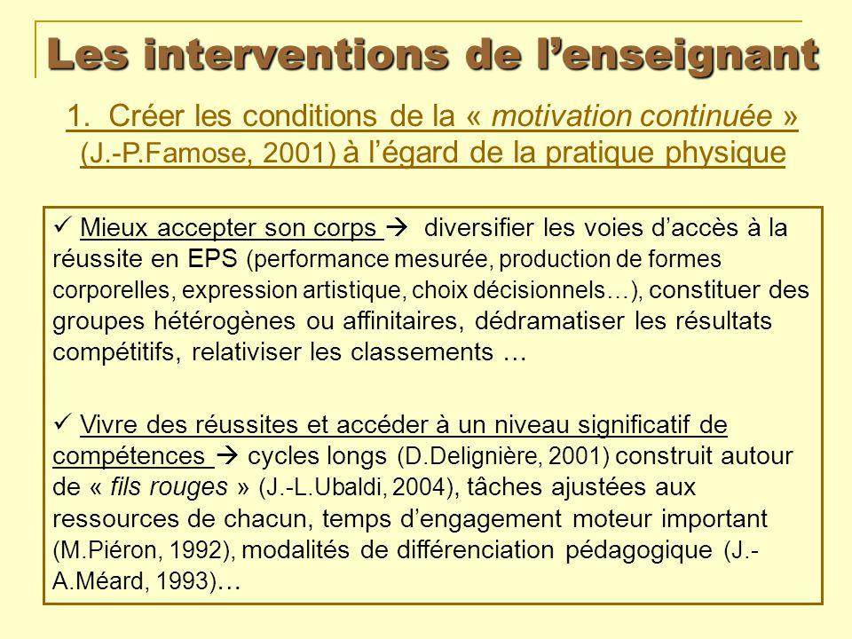 Les interventions de lenseignant 1. Créer les conditions de la « motivation continuée » (J.-P.Famose, 2001) à légard de la pratique physique Mieux acc