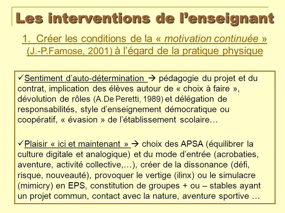 Les interventions de lenseignant 1. Créer les conditions de la « motivation continuée » (J.-P.Famose, 2001) à légard de la pratique physique Sentiment
