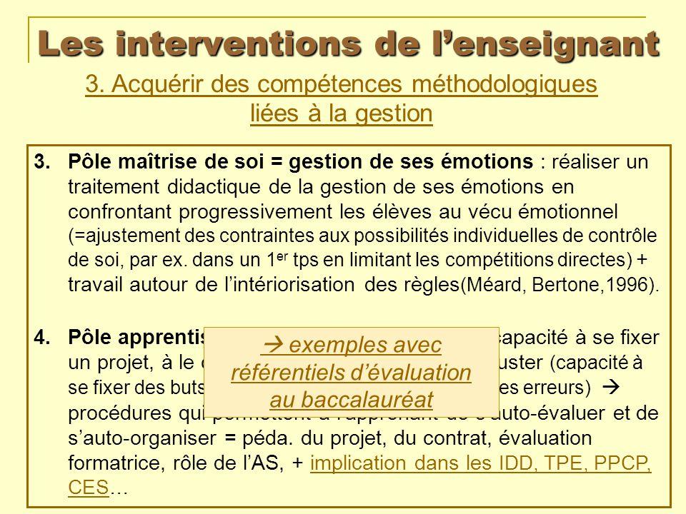 Les interventions de lenseignant 3. Acquérir des compétences méthodologiques liées à la gestion 3.Pôle maîtrise de soi = gestion de ses émotions : réa