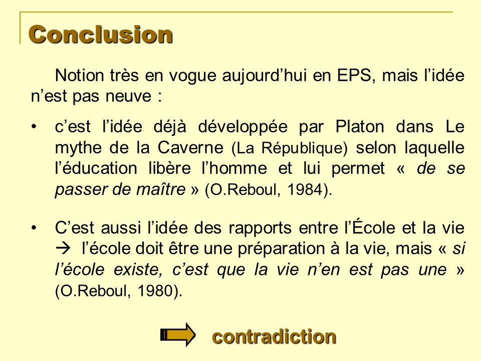 Conclusion Notion très en vogue aujourdhui en EPS, mais lidée nest pas neuve : cest lidée déjà développée par Platon dans Le mythe de la Caverne (La R